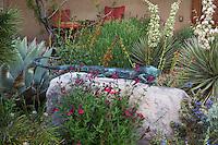 Salvia greggii (Autumn sage) by large with lizard sculpture in David Salman New Mexico xeric courtyard garden