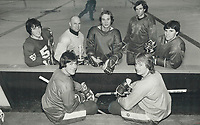 1980 FILE PHOTO - ARCHIVES -<br /> <br /> New boys in town: Leafs' roster the past few weeks has undergone a major change with general manager Punch Imlach making trades and bringing chaps out of retirement. Newcomers are, seated, Wilf Paiement, left and Pat Hickey. Standing, left to right, are Vince Tremblay, Carl Brewer, Bob Stephenson, Darryl Maggs and Terry Martin. Leafs went through two strenuous workouts yesterday.<br /> Bezant, Graham<br /> Picture, 1980<br /> <br /> 1980<br /> <br /> PHOTO : Graham Bezant - Toronto Star Archives - AQP