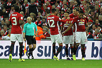 Manchester United celebrate after Jesse Lingard (3rd R) scored their second goal <br /> Londra Wembley Stadium Southampton vs Manchester United - EFL League Cup Finale - 26/02/2017 <br /> Foto Phcimages/Panoramic/Insidefoto