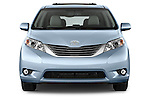 Car photography straight front view of a2015 Toyota Sienna XLE V6 8-Passenger 5 Door Mini Van Front View