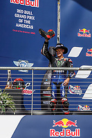 3rd October 2021; Austin, Texas, USA; Fabio Quartararo (20) - (FRA) drinks hs champagne from his boot on the podium after the MotoGP Red Bull Grand Prix of the Americas