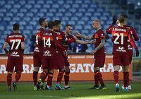 Football, Serie A: AS Roma -  Udinese, Olympic stadium, Rome, February 14, 2021. <br /> Roma's Jordan Veretout (c) celebrates after scoing his second goal in the match with his teammates during the Italian Serie A football match between Roma and Udinese at Rome's Olympic stadium, on February 14, 2021.  <br /> UPDATE IMAGES PRESS/Isabella Bonotto