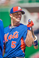 6 April 2015: New York Mets third baseman David Wright awaits his turn in the batting cage prior to the Season Opening Game against the Washington Nationals at Nationals Park in Washington, DC. The Mets rallied to defeat the Nationals 3-1 in their first meeting of the 2015 MLB season. Mandatory Credit: Ed Wolfstein Photo *** RAW (NEF) Image File Available ***