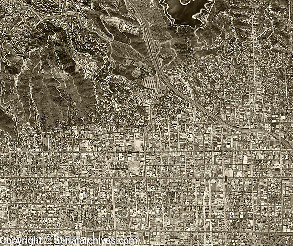 historical aerial photograph Hollywood, City and County of Los Angeles, California, 1966