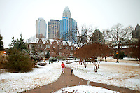 Charlotteans enjoy a rare snowfall that coated the Southeastern city in January 2009. Photo taken in Fourth Ward.