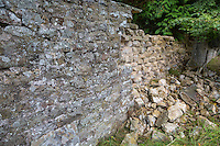 UK, England, Yorkshire.  Historic Preservation.  Collapse of a Stone Wall around a Yorkshire Country Home.
