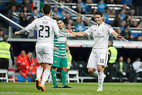 Real Madrid´s Isco celebrates a goal with James Rodriguez (R) during Spanish King Cup match between Real Madrid and Cornella at Santiago Bernabeu stadium in Madrid, Spain.December 2, 2014. (NortePhoto/ALTERPHOTOS/Victor Blanco)