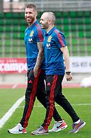 Spain's Sergio Ramos (l) and Andres Iniesta before training session. June 5,2018.(ALTERPHOTOS/Acero) /NortePhoto.com NORTEPHOTOMEXICO