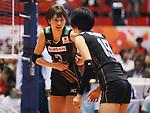 (L-R) Saori Kimura, Haruka Miyashita (JPN), AUGUST 27, 2015 - Volleyball : FIVB Women's World Cup 2015 1st Round between Japan 3-2 Dominican Republic  in Tokyo, Japan. (Photo by Sho Tamura/AFLO SPORT)