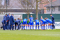team Gent pictured before a female soccer game between  AA Gent Ladies and Standard Femina de Liege on the first matchday of play-off 1 of the  2020 - 2021 season of Belgian Scooore Womens Super League , saturday 3 th of April 2021  in Oostakker , Belgium . PHOTO SPORTPIX.BE | SPP | STIJN AUDOOREN