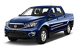 2014 Ssangyong Actyon Sports Quartz 4 Door Pick Up Angular Front stock photos of front three quarter view