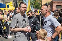 """Am Samstag den 20 Juli 2019 versuchten in Halle an der Saale ca. 200 Mitglieder und Anhaenger der rechtsextremen """"Identitaeren Bewegung"""", IB, eine Demonstration durchzufuehren. Sie versammelten sich dafuer vor dem Haus der IB in der Adam-Kuckhoff-Straße 16. Aufgrund von Gegenprotesten konnten die Rechtsextremen jedoch nicht marschieren, da alle Straßen um ihr Haus von Gegendemonstranten blockiert wurden.<br /> Links im Bild: Gerhard Vierfuss, Rechtsanwalt aus Oldenburg, ehem. Pressesprecher der AfD-Ammerland.<br /> 20.7.2019, Berlin<br /> Copyright: Christian-Ditsch.de<br /> [Inhaltsveraendernde Manipulation des Fotos nur nach ausdruecklicher Genehmigung des Fotografen. Vereinbarungen ueber Abtretung von Persoenlichkeitsrechten/Model Release der abgebildeten Person/Personen liegen nicht vor. NO MODEL RELEASE! Nur fuer Redaktionelle Zwecke. Don't publish without copyright Christian-Ditsch.de, Veroeffentlichung nur mit Fotografennennung, sowie gegen Honorar, MwSt. und Beleg. Konto: I N G - D i B a, IBAN DE58500105175400192269, BIC INGDDEFFXXX, Kontakt: post@christian-ditsch.de<br /> Bei der Bearbeitung der Dateiinformationen darf die Urheberkennzeichnung in den EXIF- und  IPTC-Daten nicht entfernt werden, diese sind in digitalen Medien nach §95c UrhG rechtlich geschuetzt. Der Urhebervermerk wird gemaess §13 UrhG verlangt.]"""
