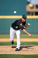 Pittsburgh Pirates relief pitcher Daniel Hudson (41) delivers a pitch during a Spring Training game against the Tampa Bay Rays on March 10, 2017 at LECOM Park in Bradenton, Florida.  Pittsburgh defeated New York 4-1.  (Mike Janes/Four Seam Images)