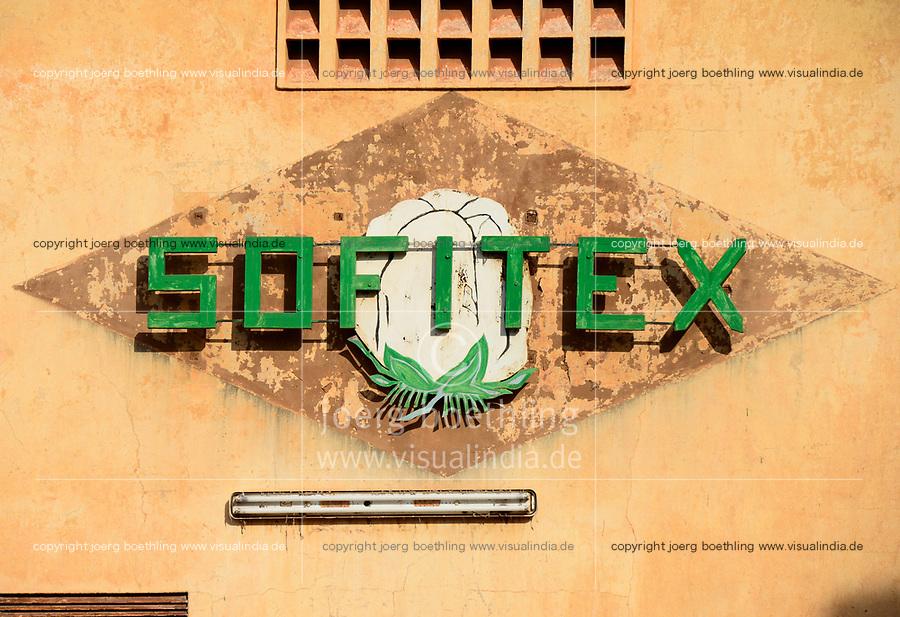 BURKINA FASO, Bobo Dioulasso, logo of company SOFITEX Société Burkinabè des Fibres Textiles, cotton ginning company unit Bobo I