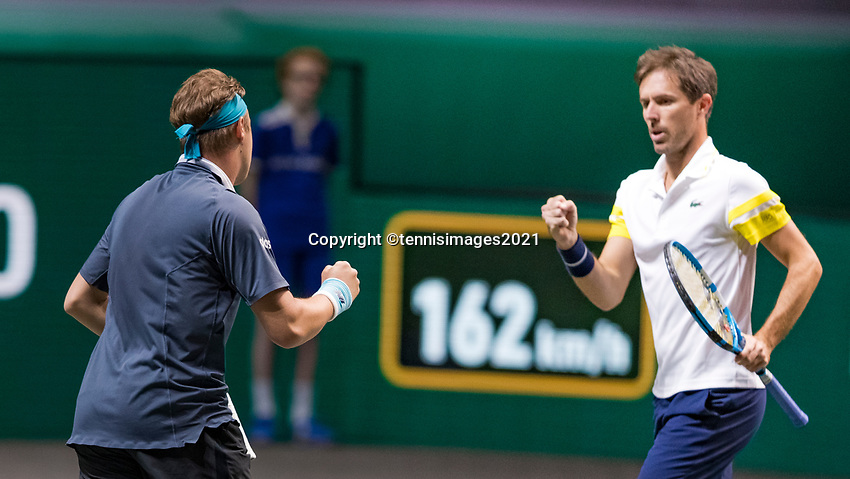 Rotterdam, The Netherlands, 6 march  2021, ABNAMRO World Tennis Tournament, Ahoy,  <br /> Semi final doubles:  Henri Kontinen (FIN) / Eduoard Roger-Vasselin (FRA).<br /> Photo: www.tennisimages.com/henkkoster