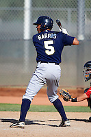 Milwaukee Brewers minor league infielder Jalen Harris #5 at bat during an instructional league game against the Cincinnati Reds at Maryvale Baseball Park on October 3, 2012 in Phoenix, Arizona.  (Mike Janes/Four Seam Images)