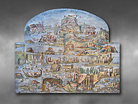 Pictures of the famous Nilotic landscape Palestrina Mosaic or Nile mosaic of Palestrina of the Museo Archeologico Nazionale di Palestrina Prenestino  (Palestrina Archaeological Museum), Palestrina, Italy. Measuring 5.85 m wide by 4.31 m high ( 19 ft wide x 14 ft high). 1st or 2nd century BC. Against a grey background.<br /> <br /> The Nile mosaic of Palestrina can be attributed to Alexandrian artists who were certainly present in Italy during the 2nd century BC. The mosaic depicts the Nile in flood and artificially compresses the length of the river into a series of zig zags. The top part of the mosaic represents Ethiopia and Nubia at the source of the Nile. The river flows down steep slopes between black hunters and African animals. The Nile flows to the bottom right hand corner of the mosaic where the harbour of Alexandria is depicted and right in the bottom right corner is the Island of the Pharos opposite which is a banqueting scene, possibly at Canopus. <br /> <br /> In the centre of the mosaic is a large Egyptian temple possibly the great sanctuary of Memphis or Karnak. The Mosaic though is dotted with Greek temples of the Greek ruling Ptolemy family who displaced the Pharos.