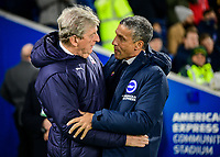 Chris Hughton Manager of Brighton & Hove Albion and Roy Hodgson Manager of Crystal Palace  ,during the Premier League match between Brighton and Hove Albion and Crystal Palace at the American Express Community Stadium, Brighton and Hove, England on 4 December 2018. Photo by Edward Thomas / PRiME Media Images.