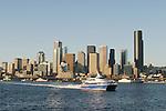 Seattle, Victoria Clipper, Seattle skyline, Washington State, Puget Sound, Elliott Bay, Pacific Northwest, High-speed passenger ferry service from Seattle to Victoria, British Columbia.