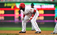 30 September 2009: Washington Nationals' outfielder Elijah Dukes in action against the New York Mets at Nationals Park in Washington, DC. The Nationals rallied in the bottom of the 9th inning on a Justin Maxwell walk-off Grand Slam to win 7-4 and sweep the Mets 3-game series capping the Nationals' 2009 home season. Mandatory Credit: Ed Wolfstein Photo