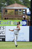 Fort Myers Miracle outfielder John Murphy (11) tracks down a fly ball during a game against the Charlotte Stone Crabs on April 16, 2014 at Charlotte Sports Park in Port Charlotte, Florida.  Fort Myers defeated Charlotte 6-5.  (Mike Janes/Four Seam Images)