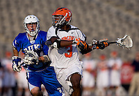 Rhamel Bratton (3) of Virginia takes a shot during the ACC men's lacrosse tournament semifinals in College Park, MD.  Virginia defeated Duke, 16-12.