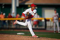 Johnson City Cardinals relief pitcher David Oca (56) delivers a pitch during a game against the Danville Braves on July 29, 2018 at TVA Credit Union Ballpark in Johnson City, Tennessee.  Johnson City defeated Danville 8-1.  (Mike Janes/Four Seam Images)