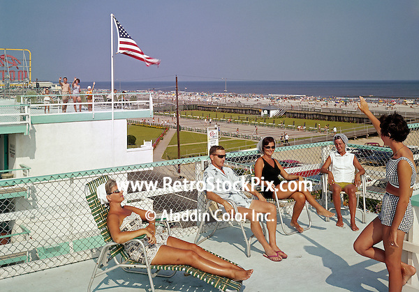 Rio Motel was located in Wildwood, New Jersey. 1960's photograph of the sundeck with a view of the shuffleboard courts, beach and ocean.