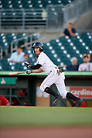 Jupiter Hammerheads center fielder Aaron Knapp (7) follows through on a swing during a game against the Palm Beach Cardinals on August 4, 2018 at Roger Dean Chevrolet Stadium in Jupiter, Florida.  Palm Beach defeated Jupiter 7-6.  (Mike Janes/Four Seam Images)