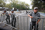 Federal Police officers take guard outside the Mexican Congress in Mexico City, August 31, 2006. President Vicente Fox will address his last State of the Nation under heavy security measures in order to block protests by supporters of leftist presidential candidate Andres Manuel Lopez Obrador.  © Photo by Heriberto Rodriguez