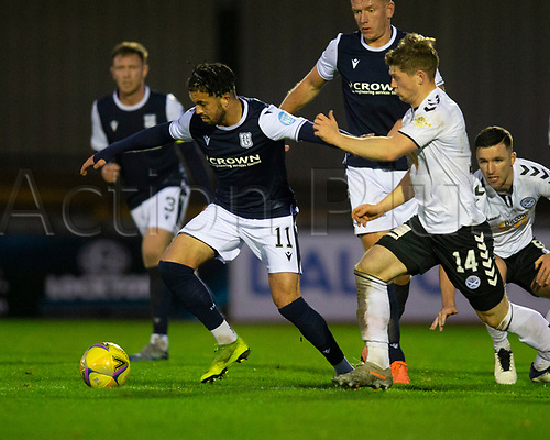 21st November 2020; Somerset Park, Ayr, South Ayrshire, Scotland; Scottish Championship Football, Ayr United versus Dundee FC; Declan McDaid of Dundee holds off Cammy Smith of Ayr United