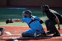 Old Dominion Monarchs catcher Brock Gagliardi (10) reaches for a pitch as home plate umpire Jeff Francis looks on during the game against the Charlotte 49ers at Hayes Stadium on April 25, 2021 in Charlotte, North Carolina. (Brian Westerholt/Four Seam Images)