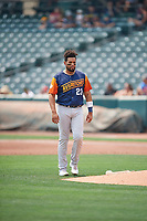 Francisco Peña (23) of the Las Vegas Aviators between innings against the Salt Lake Bees at Smith's Ballpark on July 25, 2021 in Salt Lake City, Utah. The Aviators defeated the Bees 10-6. (Stephen Smith/Four Seam Images)