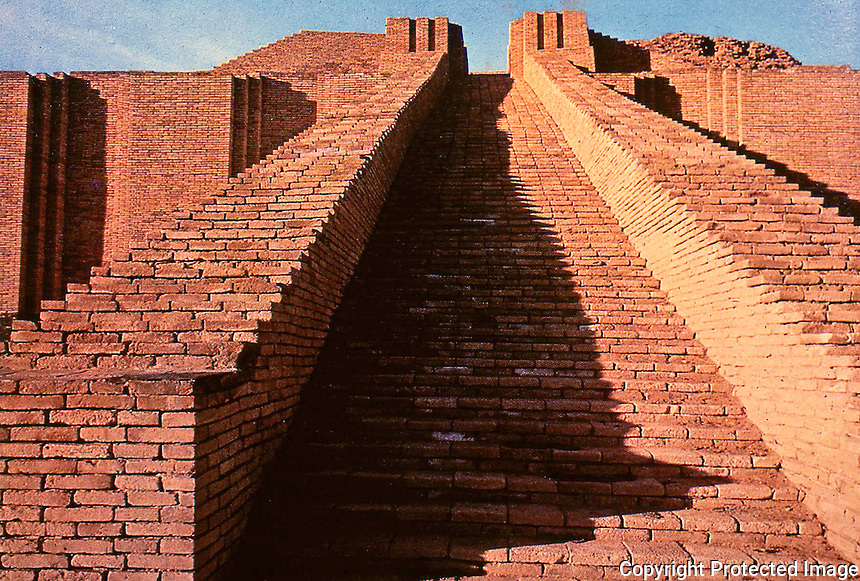 World Civilization:  Sumer--Ziggurat of  UR.  Best-preserved of those known from Iran and Iraq--a reconstructed staircase.