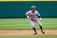 Darwin Perez (6) of the Arkansas Travelers leads off second base during a game against the Springfield Cardinals on May 10, 2011 at Hammons Field in Springfield, Missouri.  Photo By David Welker/Four Seam Images.
