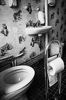 Switzerland. Canton Vaud. Lausanne. Public Toilet at Virgile Formation (a private school on Management or Human Resources Training. Toilet seat and paper. A bathroom sink and soap. On the wall, an old tapestry with tigers and cheetah. The tiger (Panthera tigris) is the largest extant cat species and a member of the genus Panthera. It is most recognisable for its dark vertical stripes on orange-brown fur with a lighter underside. It is an apex predator, primarily preying on ungulates such as deer and wild boar. It is territorial and generally a solitary but social predator, requiring large contiguous areas of habitat, which support its requirements for prey and rearing of its offspring. The cheetah (Acinonyx jubatus) is a large cat native to Africa. It is the fastest land animal, capable of running at 80 to 128 km/h and as such has several adaptations for speed, including a light build, long thin legs and a long tail. 27.06.2020 © 2020 Didier Ruef