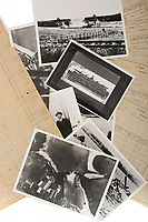 BNPS.co.uk (01202 558833)<br /> Pic: AnthonyCribb/BNPS<br /> <br /> Pictured: Photographs and logs.<br /> <br /> Rare navigation sheets which provide a gripping blow-by-blow account of the famous Dambusters raid of World War Two have come to light 78 years on.<br /> <br /> They were filled in by Sergeant Vivian Nicholson who was a navigator on one of the 19 Lancaster bombers involved in Operation Chastise on the night of May 16, 1943.<br /> <br /> As well as jotting down technical information such as wind speeds and directions, Sgt Nicholson used short phrases to offer a 'real-time' commentary of the perilous mission.