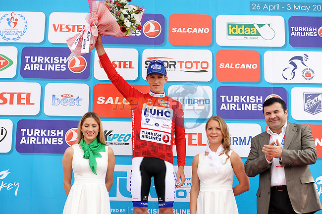 Federico Zurlo (ITA) United Healthcare wears the mountains jersey at the end of Stage 1 of the 2015 Presidential Tour of Turkey running 182km from Alanya to Alanya. 26th April 2015.<br /> Photo: Tour of Turkey/Stiehl Photography/Mario Stiehl/www.newsfile.ie