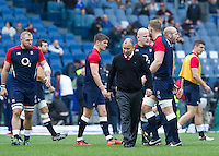Rugby, Torneo delle Sei Nazioni: Italia vs Inghilterra. Roma, 14 febbraio 2016.<br /> England's coach Eddie Jones walks on the pitch prior to the start of the Six Nations rugby union international match between Italy and England at Rome's Olympic stadium, 14 February 2016.<br /> UPDATE IMAGES PRESS/Riccardo De Luca