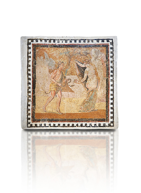 Picture of a Roman mosaics design depicting a Satyr persuing Bacchante, from the ancient Roman city of Thysdrus. End of 2nd century AD, House in Jiliani Guirat area. El Djem Archaeological Museum, El Djem, Tunisia. Against a white background