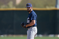 Milwaukee Brewers relief pitcher Luke Barker (68) during a Minor League Spring Training game against the Colorado Rockies at Salt River Fields at Talking Stick on March 17, 2018 in Scottsdale, Arizona. (Zachary Lucy/Four Seam Images)