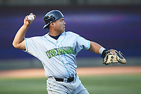 Lynchburg Hillcats catcher Li-Jen Chu (27) warms up in the outfield prior to the game against the Winston-Salem Dash at BB&T Ballpark on May 3, 2018 in Winston-Salem, North Carolina. The Dash defeated the Hillcats 5-3. (Brian Westerholt/Four Seam Images)