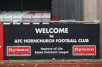 Signage on the West Side of the ground - AFC Hornchurch vs Wingate & Finchley - Ryman League Premier Division Football at Hornchurch Stadium, Bridge Avenue, Upminster, Essex - 30/11/13 - MANDATORY CREDIT: Gavin Ellis/TGSPHOTO - Self billing applies where appropriate - 0845 094 6026 - contact@tgsphoto.co.uk - NO UNPAID USE