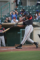 Joshua Mears (23) of the Lake Elsinore Storm bats against the Inland Empire 66ers at San Manuel Stadium on June 15, 2021 in San Bernardino, California. (Larry Goren/Four Seam Images)