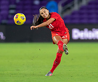 ORLANDO, FL - FEBRUARY 21: Jordyn Listro #21 of Canada crosses the ball during a game between Canada and Argentina at Exploria Stadium on February 21, 2021 in Orlando, Florida.