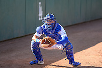 Ryan Scott (15) of the Ogden Raptors warms up before the game against the Orem Owlz in Pioneer League action at Lindquist Field on June 18, 2015 in Ogden, Utah.  This was Opening Night play of the 2015 Pioneer League season. (Stephen Smith/Four Seam Images)