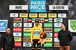 Race leader Maximilian Schachmann (GER) Bora-Hansgrohe retains the Yellow Jersey on the podium at the end of Stage 3 of the 78th edition of Paris-Nice 2020, running 212.5km from Chalette-sur-Loing to La Chatre, France. 10th March 2020.<br /> Picture: ASO/Fabien Boukla | Cyclefile<br /> All photos usage must carry mandatory copyright credit (© Cyclefile | ASO/Fabien Boukla)