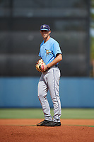 Tampa Bay Rays pitcher Alan Strong (41) gets ready to deliver a pitch during a Florida Instructional League game against the Baltimore Orioles on October 1, 2018 at the Charlotte Sports Park in Port Charlotte, Florida.  (Mike Janes/Four Seam Images)