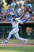 Yusniel Diaz (21) of the Rancho Cucamonga Quakes bats against the Inland Empire 66ers at San Manuel Stadium on July 29, 2017 in San Bernardino, California. Inland Empire defeated Rancho Cucamonga, 6-4. (Larry Goren/Four Seam Images)