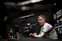 Tony Martin's (DEU/Jumbo-Visma) press conference after winning the Mixed Relay World Championships Title and after finishing off his very last day as a pro rider.<br /> <br /> Mixed Relay TTT <br /> Team Time Trial from Knokke-Heist to Bruges (44.5km)<br /> <br /> UCI Road World Championships - Flanders Belgium 2021<br /> <br /> ©kramon